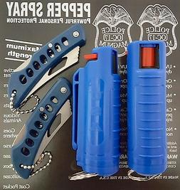 Police Magnum 1/2oz pepper spray 2 Blue Molded Keychain 2 Po