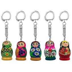 "1.75"" Set of Five Assorted Matryoshka Wooden Russian Nesting"