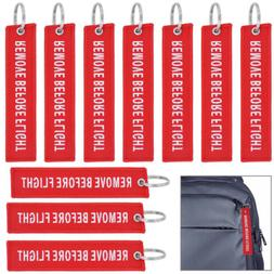 10 packs Red Remove Before Flight Keychain Aviation Tags Rin