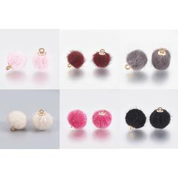 10 x Faux Fur Pom Pom Ball Charms Findings for Jewelry Makin