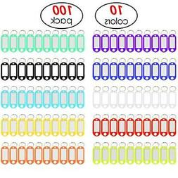 YUEAON 100 Pack Tough Plastic Key Tags with Label Window ID