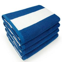 100% Cotton BLUE Cabana Beach & Pool Towel 4-Pack Set - 30in