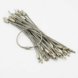 100pcs Stainless Steel Wire Cable Keychain Key Ring Chain Wi