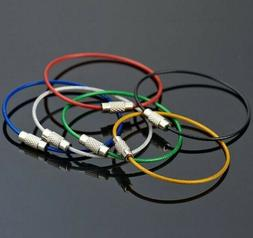 10pc Colorful Stainless Steel Wire Cable Keychain Key Ring C