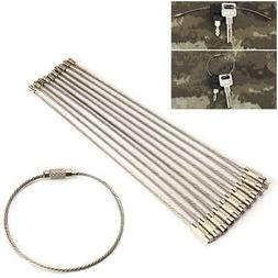 10PCS Stainless Steel EDC Aircraft Cable Wire Key Chain Ring