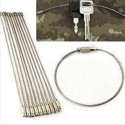 10x Stainless Steel EDC Cable Wire Loop Luggage Tag Key Chai