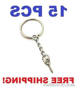 15 Pcs - Silver 24mm Split Key Ring Keychain With Extend Cha