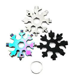 18 In 1 Stainless steel Multi Tool Portable Snowflake Key Ch