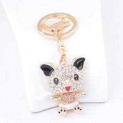 1PC Novelty Trinket Rhinestone Pig Shaped Key Chain Girl Han