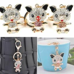 1PC Novelty Trinket Rhinestone Pig Shaped Keys Holder Girls