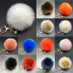 1Pcs Charm Handbag Key Chain Keyrings Rabbit Fur 8CM Pompom