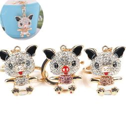 1Pcs Novelty Trinket Rhinestone Pig Shaped Key Holder Girls