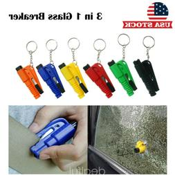 1x 3 in 1 Car Window Glass Breaker Escape Tool Key Chain Saf