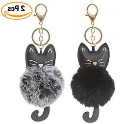 2 Pack Cute Novelty Black and Gray Kitty Cat Keychain Faux F