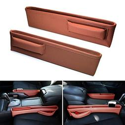 iJDMTOY (2 Extra Long Brown Leather Car Side Pocket Organize