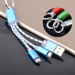 2 in 1 USB Charging Charger Cable Key Chain For iPhone 7 6S