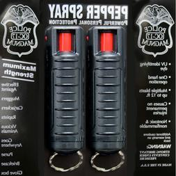 2 pack POLICE MAGNUM PEPPER SPRAY .50oz with BLACK Molded Ke