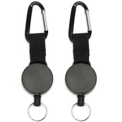 2 X Retractable Stainless Steel Keyring Pull Ring Key Chain