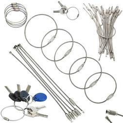 20-100 Stainless Steel Wire Keychain Cable Key Ring Chain Ca