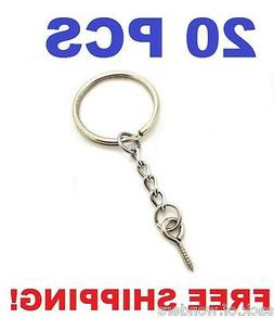 20 Pcs - Silver 24mm Split Key Ring Keychain With Extend Cha