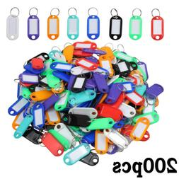 200PCS Key ID Labels Tag with Key Ring Split Rings For Home