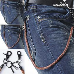 "25 "" Men Metal Key Long Heavy Trouser Jean Wallet Hook PU Le"