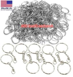 25 PCS Keyring Blanks Silver Tone Key Chains Findings Split