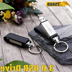 256GB USB 3.0 Key Chain Leather Flash Drive Memory Stick Pen