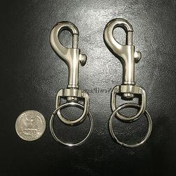 2PC Snap Clasp Hook Trigger Belt Clip Silver Metal Key chain