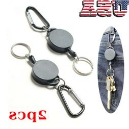 "2Pcs 27"" Retractable Key Chain Reel Recoil Pull Badge Reel W"