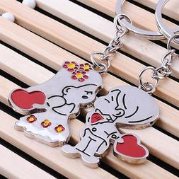 2pcs Novelty Boy & Girl Metal Key Chain Key Ring Couples Key