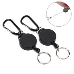 2x Retractable Key Chain Reel Recoil Pull Badge Reel with 27