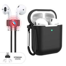3-in-1 AirPods Silicone Case Cover Magnetic Strap Keychain f