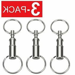 3-Pack Detachable Pull Apart Quick Release Keychain Key Ring