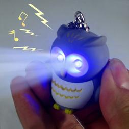 3D Creative Owl Light Up LED Torch & Sound Keyrings Key Chai