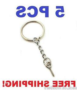 5 Pcs - Silver 24mm Split Key Ring Keychain With Extend Chai