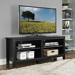"58"" Simple Wood TV Stand Media Console in Black"