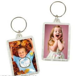 6 PHOTO FRAME KEYCHAINS KEY CHAIN CLEAR TRANSPARENT INSERT P