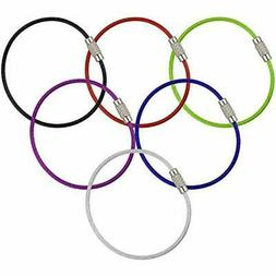 6pcs stainless steel wire keychain cable key