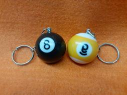 8 BALL AND 9 BALL KEY-CHAIN SET