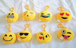 "8 pcs Emoji Angry Poop 3.5"" Face Plush Keychain Emoticon Acc"