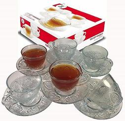 Cup & Saucer Set Glass Tea Coffee Cup Glass Saucer 12 Piece