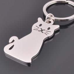 Fashion Cat Keychain Keyring Silver Plated Key Chain Ring Wo