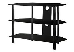 Monarch Specialties Black Metal TV Stand with Tempered Black