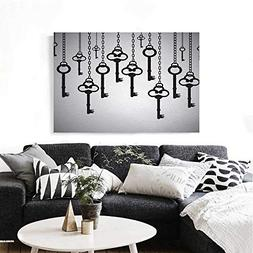 Antique Art-Canvas Prints Silhouettes of Old Keys Hanging Ch