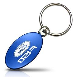 Au-Tomotive Gold Ford Mustang 5.0 Blue Aluminum Oval Key Chain INC