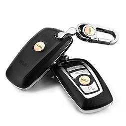 YIKA Black Frosted Car Key Shell Cover With Key Chain For BM