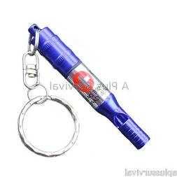 Blue Keychain Whistle with Pill Case Emergency Medications &