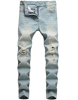 Boy's Light Blue Skinny Fit Ripped Destroyed Distressed Stre