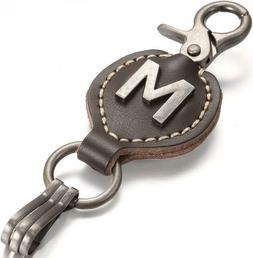 Brown Leather Alphabet Keychain, Single Letter with Easy Cla